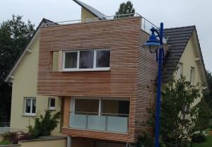 Extension en ossature bois à plusieurs étages, vue de face