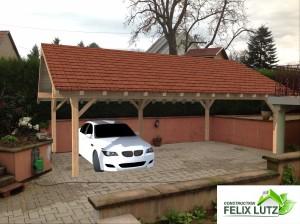 Réalisation 3D d'un carport en ossature bois