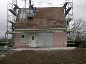 Début de travaux avant de construire une extension en bois
