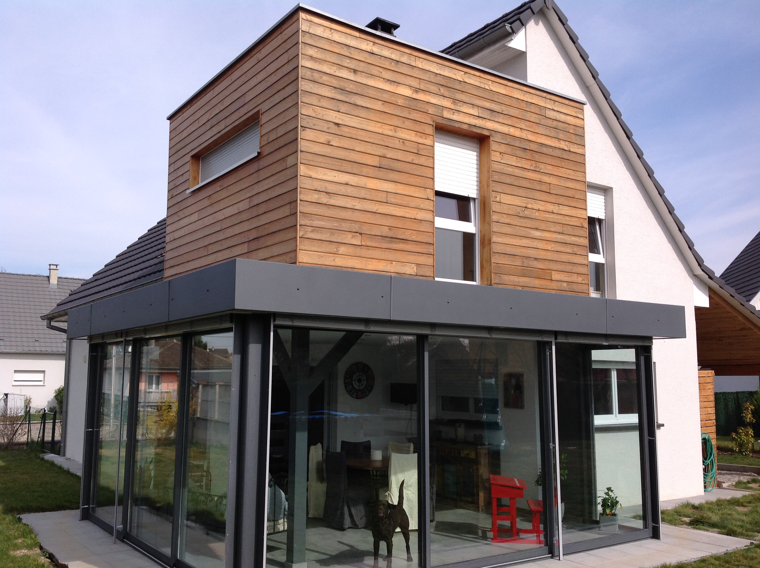Extension de maison en tage abt construction bois for Maison toit plat pas cher
