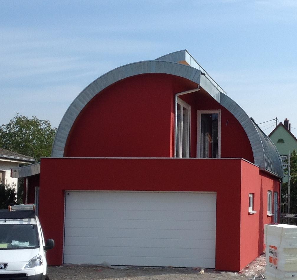 Maison en ossature bois en ccmi toiture cintr e abt bois for Toiture maison