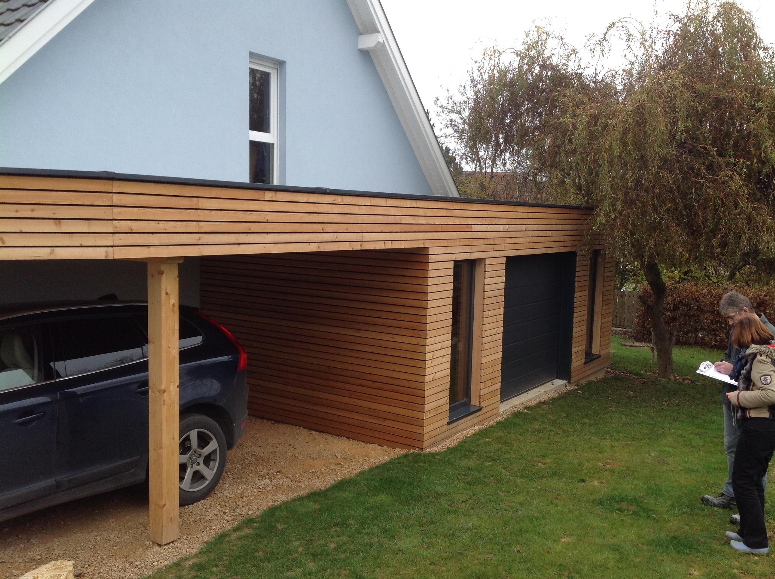Charpente bois toit plat for Ajout de garage maison