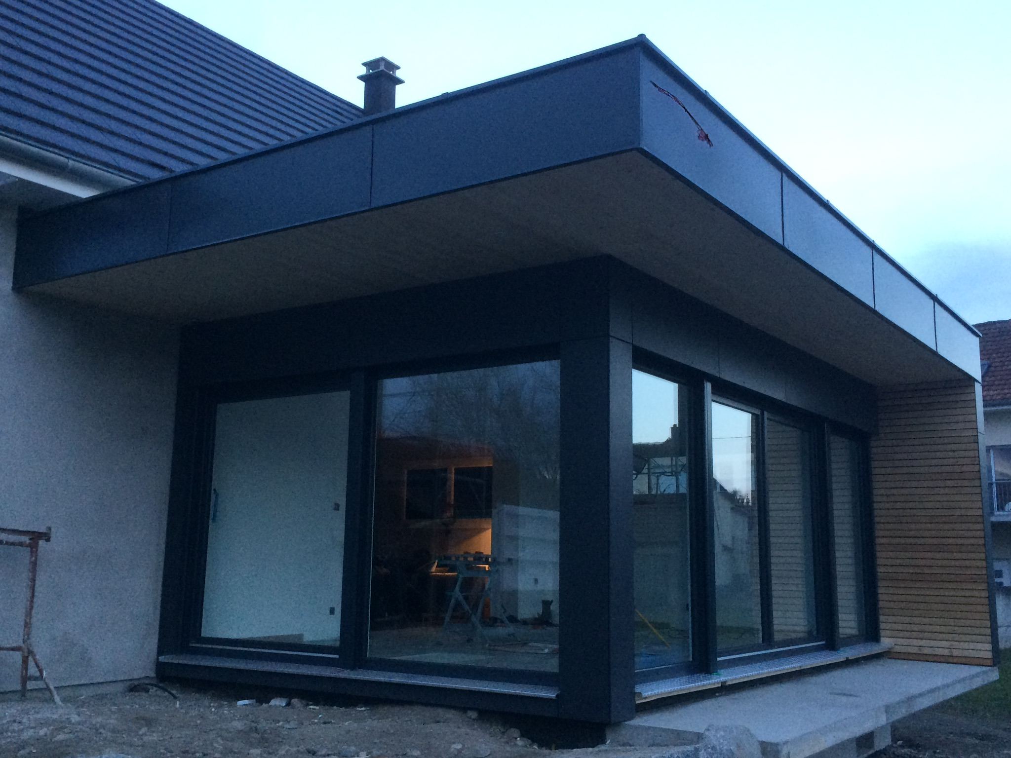 Extension ossature bois for Extension maison 25m2