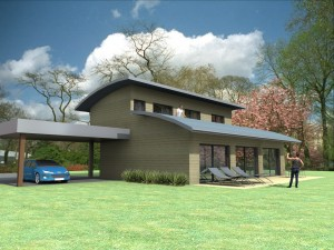 Vue extérieure du modèle type 14. Maison en ossature bois.
