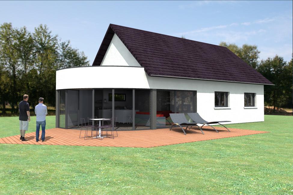 Vue extérieure du modèle type 18. Maison en ossature bois.