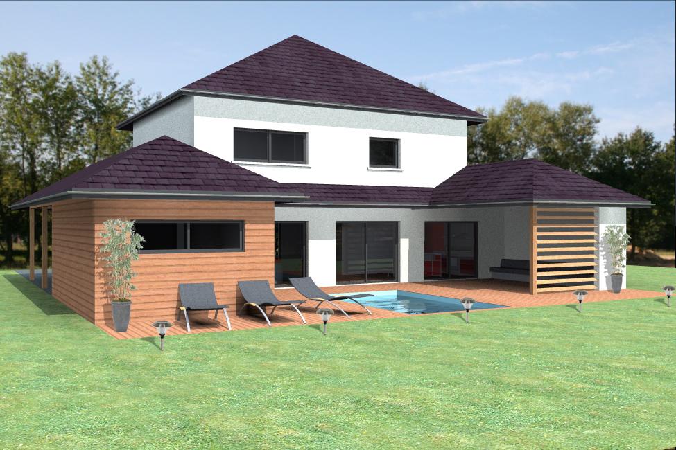 Vue extérieure du modèle type 2. Maison à ossature bois.