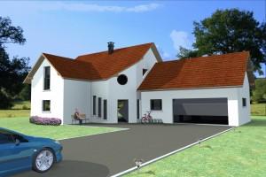 Vue extérieure du modèle type 5. Maison à ossature bois.