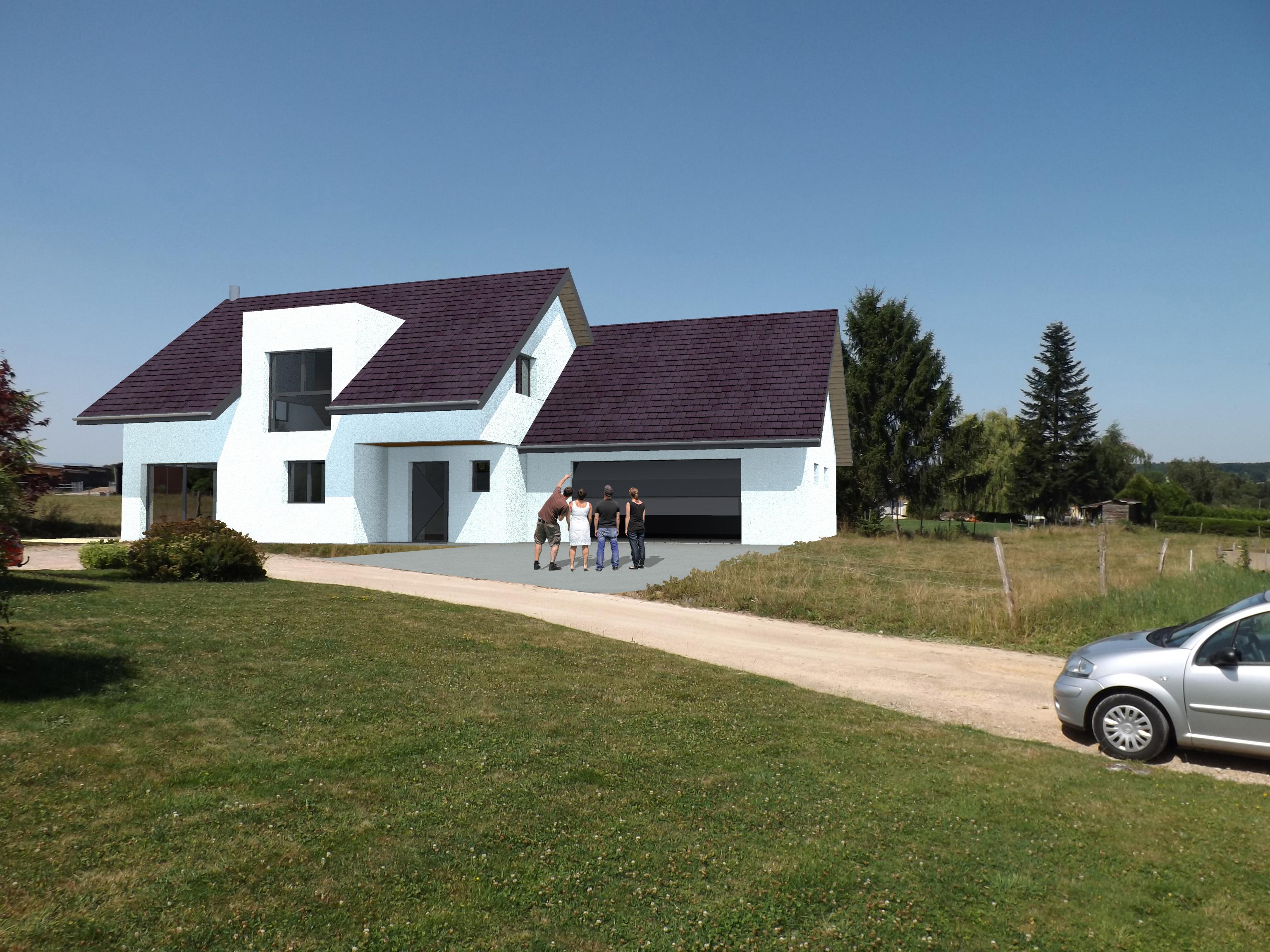 Vue extérieure du modèle type 6. Maison à ossature bois.