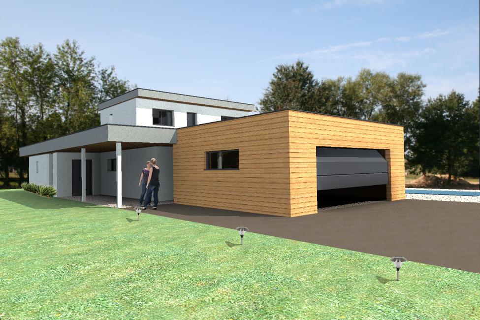 Vue extérieure du modèle type 7. Maison à ossature bois.