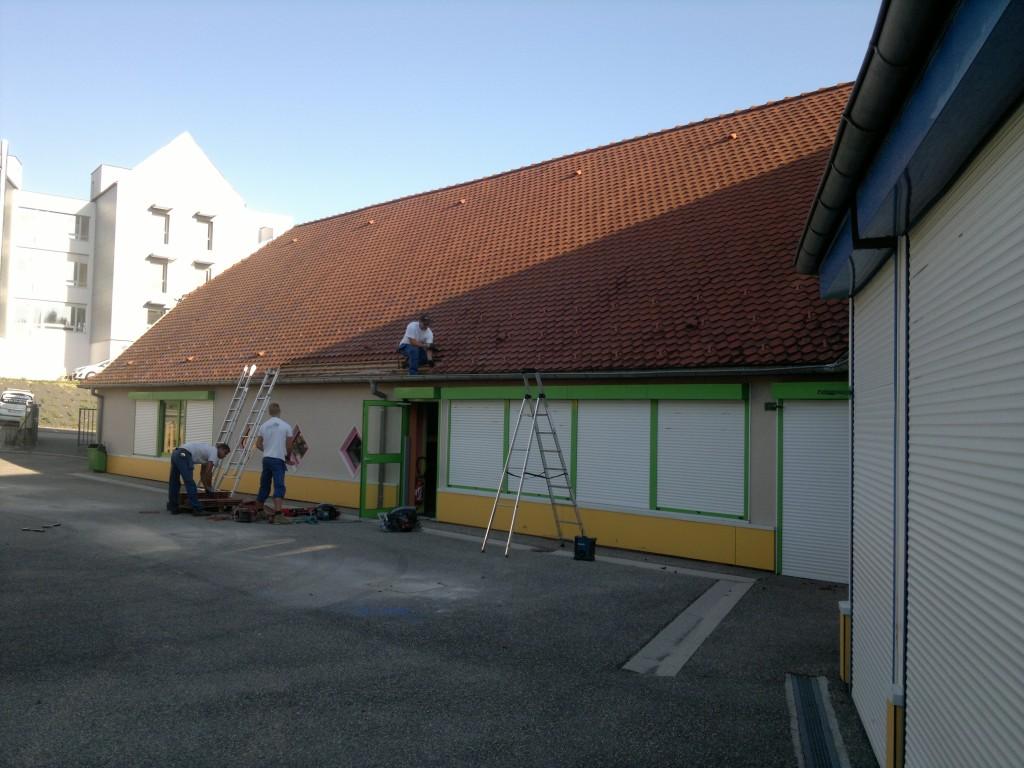 Avant la construction d'un appenti en bois. Alsace, haut rhin (68).
