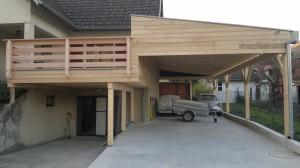 Construction carport en bois en Alsace dans le haut rhin.