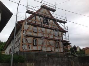 Avant la réalisation d'un colombage sur une maison en Alsace