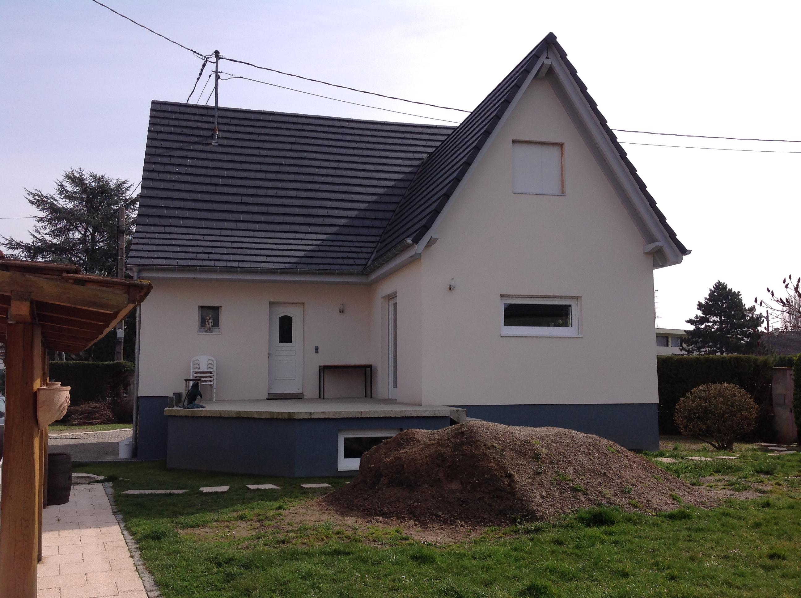 Extension avec toiture deux pans abt construction bois for Maison avec extension