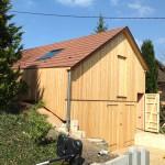 Vue de côté hangar en ossature bois en Alsace dans le haut rhin (68)