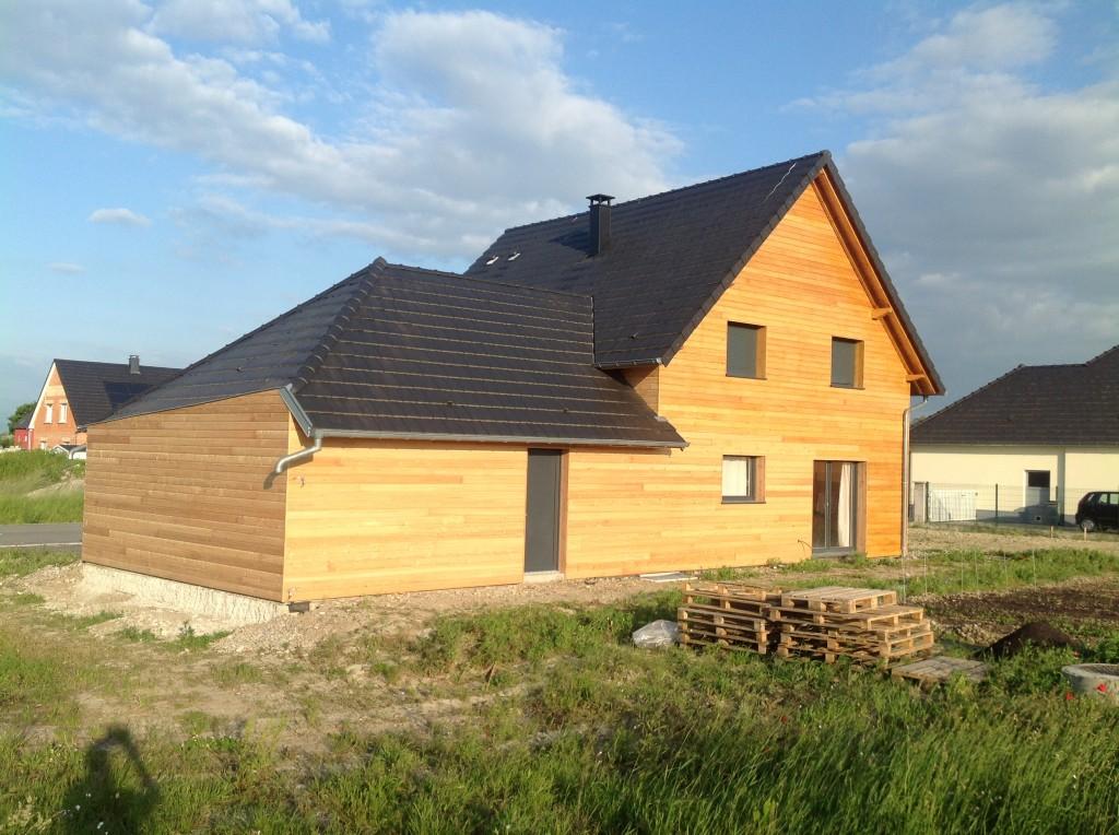 Maison en Alsace. Maison à ossature bois. Vue arrière