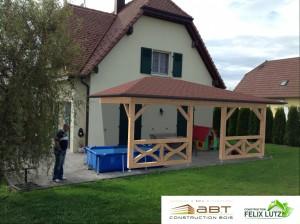 Insertion 3D d'un appenti en ossature bois, extension de maison